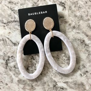 BaubleBar Lucite Statement Earrings Druzy Crystals